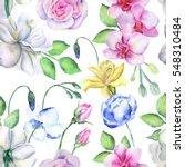 watercolor flower pattern | Shutterstock . vector #548310484