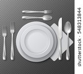 realistic empty round plate ...   Shutterstock .eps vector #548313844