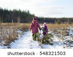 two girls in the forest cut... | Shutterstock . vector #548321503