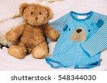 funny soft toy teddy bear near...   Shutterstock . vector #548344030