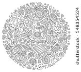line art vector hand drawn set... | Shutterstock .eps vector #548354524