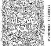 love hand lettering and doodles ... | Shutterstock .eps vector #548355598