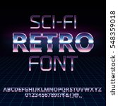 sci fi 80's retro alphabet... | Shutterstock .eps vector #548359018