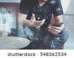 hipster hand using smart phone... | Shutterstock . vector #548362534