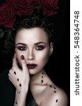 beauty fashion model woman face.... | Shutterstock . vector #548364748