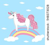 cute card with unicorn  vector... | Shutterstock .eps vector #548373028
