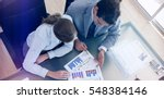 above view of young consultant... | Shutterstock . vector #548384146