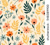 vector floral pattern with... | Shutterstock .eps vector #548389900