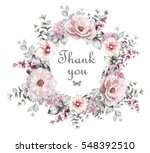 Stock photo card watercolor wedding invitation design with pink roses bud blue berry and leaves flower 548392510