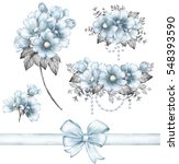 set vintage watercolor elements ... | Shutterstock . vector #548393590