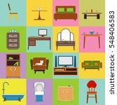 furniture icon set flat design...   Shutterstock .eps vector #548406583