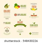 set of fresh organic label and... | Shutterstock .eps vector #548430226