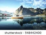 sunset   reine  lofoten islands ... | Shutterstock . vector #548442400