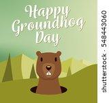 happy groundhog day typography... | Shutterstock .eps vector #548443060