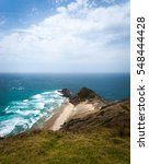 Small photo of Cliffs at Cape Reinga stretching into the Pacific Ocean at the top of the North Isand of New Zealand Cape Reinga is part of the Te Paki Recreation Reserve.