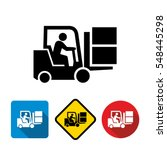 forklift truck with driver icon  | Shutterstock .eps vector #548445298