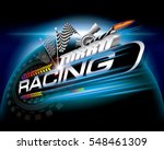 racing with checkered flags... | Shutterstock .eps vector #548461309