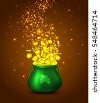 green pot of gold coins on... | Shutterstock .eps vector #548464714