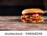 tasty grilled beef burger with... | Shutterstock . vector #548468248