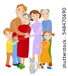 fun cartoon family in colorful... | Shutterstock .eps vector #548470690