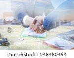 double exposure of great job... | Shutterstock . vector #548480494