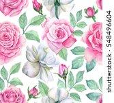 watercolor flower pattern | Shutterstock . vector #548496604