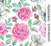 watercolor flower pattern | Shutterstock . vector #548496856