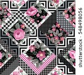 patchwork floral pattern with... | Shutterstock .eps vector #548498056