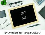 top view of modern office... | Shutterstock . vector #548500690