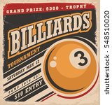 billiards retro poster design...   Shutterstock .eps vector #548510020