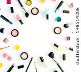 flat lay female cosmetics... | Shutterstock . vector #548514208