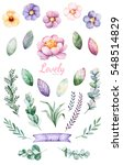handpainted watercolor flowers...   Shutterstock . vector #548514829