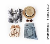 woman summer clothes collage on ... | Shutterstock . vector #548515210