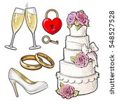 set of wedding icons   cake ... | Shutterstock .eps vector #548527528