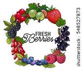 round frame of garden berries... | Shutterstock .eps vector #548527873