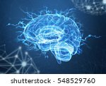 a human brain on blue background | Shutterstock . vector #548529760