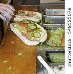 fast food sandwich preparation   Shutterstock . vector #548535076