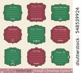 vector set of vintage christmas ... | Shutterstock .eps vector #548539924