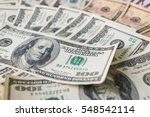 close up heap of one hundred... | Shutterstock . vector #548542114