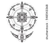 bohemian compass. compass in a... | Shutterstock .eps vector #548543368