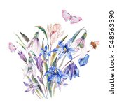 Stock photo vintage watercolor spring card with blue wildflowers blooming snowdrops scilla leaves herbs 548563390