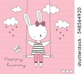 cute bunny sitting on a swing... | Shutterstock .eps vector #548564920