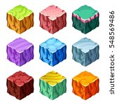isometric set of colorful...