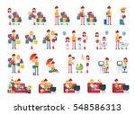 set of familiar people scenes... | Shutterstock .eps vector #548586313