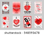 set of greeting cards for happy ... | Shutterstock .eps vector #548593678
