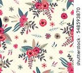 tropical floral bouquet... | Shutterstock .eps vector #548593870
