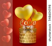hearts of gold and red with... | Shutterstock .eps vector #548604598