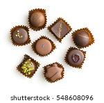 various chocolate pralines... | Shutterstock . vector #548608096