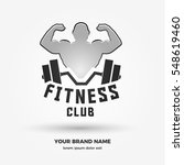 muscular man with barbell  logo ... | Shutterstock .eps vector #548619460