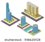 a set of isometric houses and... | Shutterstock .eps vector #548620528